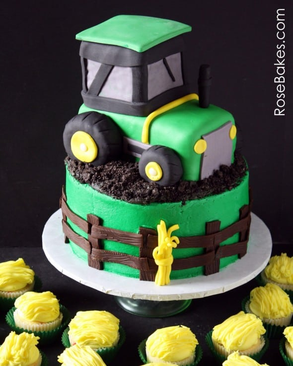 Tuckers Tractor Cake & Hay Cupcakes