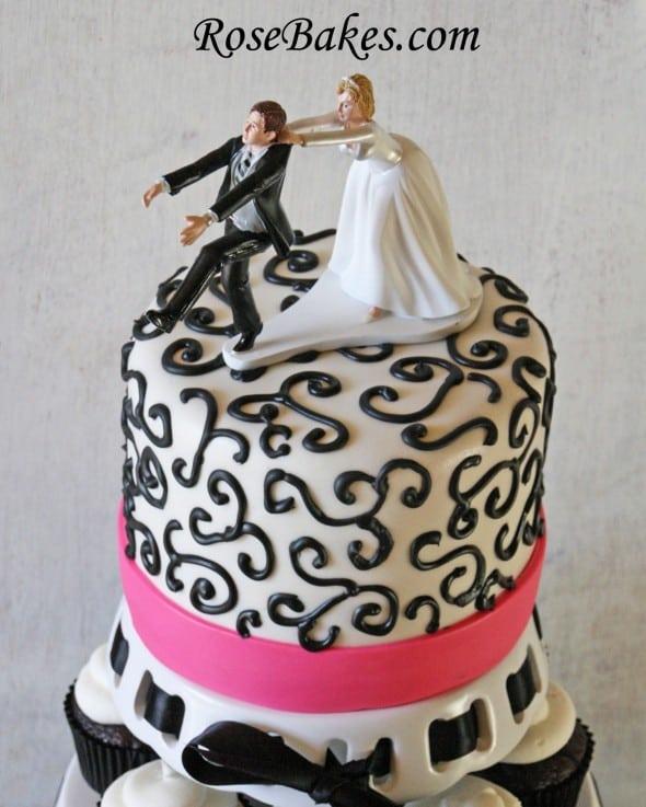 Black & Hot Pink Wedding Cake & Cupcake Tower