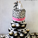 Black & Hot Pink Wedding Cake Cupcake Tower with Monogram
