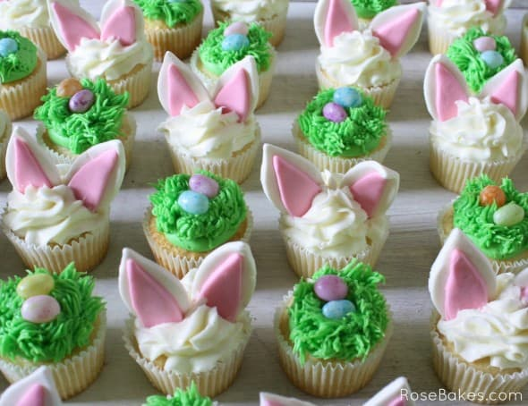 Easter Bunny Ears Eggs in Grass Cupcakes