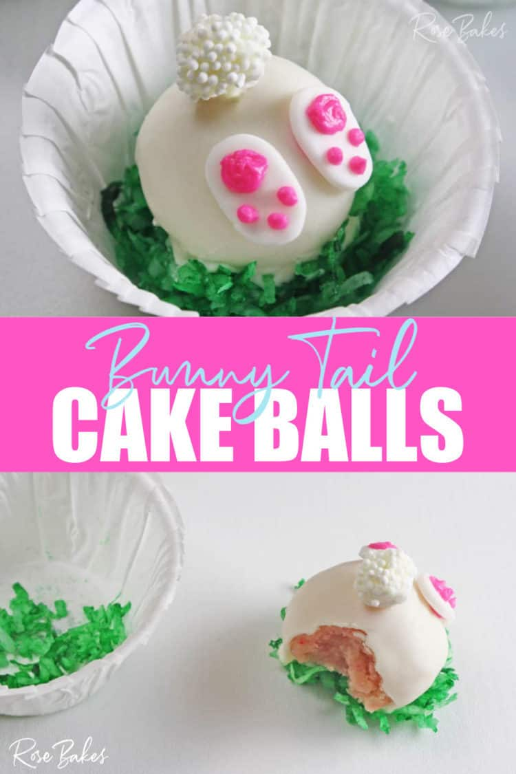 Bunny Tail Cake Balls in green coconut grass