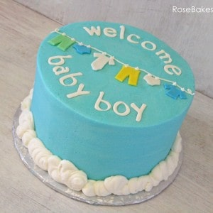 Welcome Baby Boy Clothes Line Baby Shower Cake