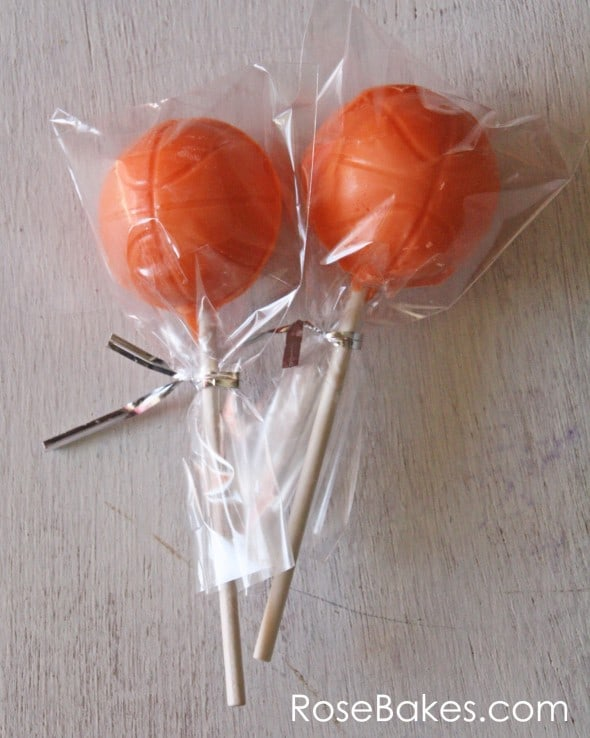 Basketball Chocolate Lollipops