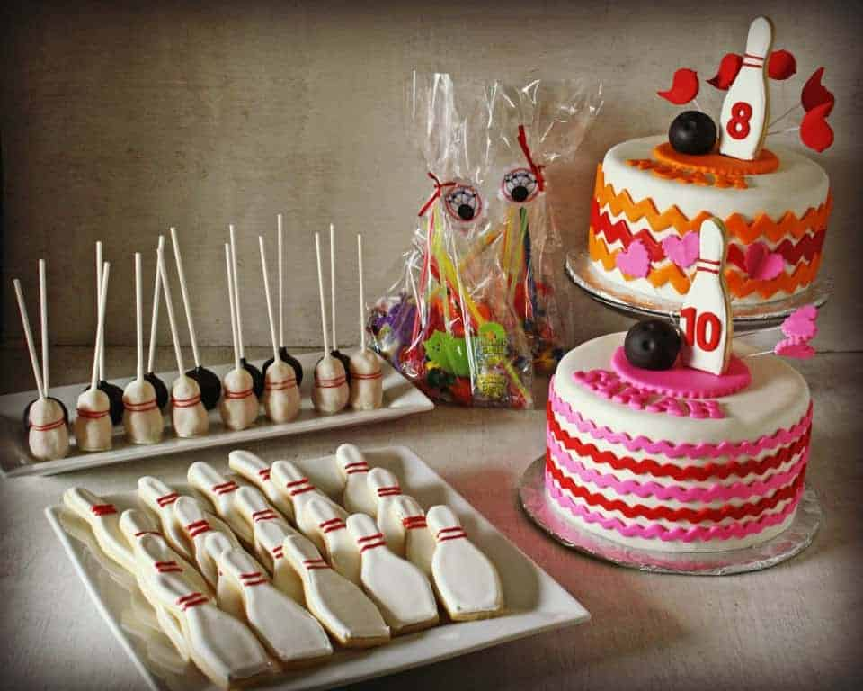 Bowling Party Cake and Treats