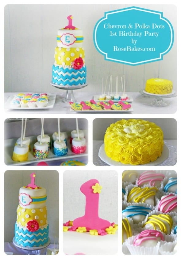 Chevron & Polka Dots 1st Birthday Party Collage