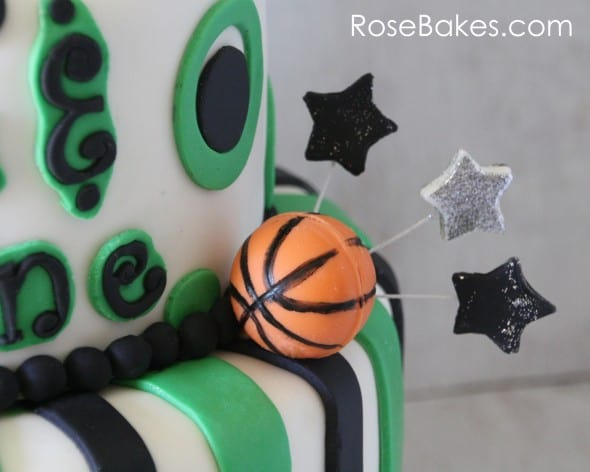 Chocolate Basketball on School Themed 13th Birthday Basketball Cake