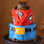 Cowboy Western Birthday Cake with Jeans, Bandana, and Cowboy Hat Cake Topper