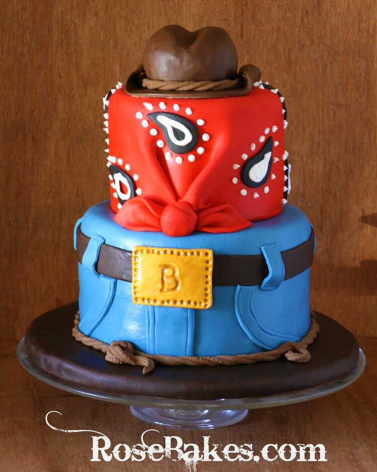 Cowboy Western Birthday Cake With Jeans Bandana And Hat Topper