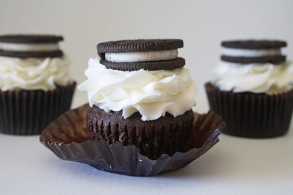 Dark Chocolate Cupcake with Oreo Cream Filling and Cream Cheese Frosting