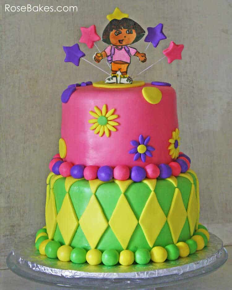 Outstanding Dora The Explorer Cake Rose Bakes Funny Birthday Cards Online Alyptdamsfinfo