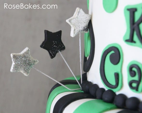 Glitter Stars on School Themed Cake