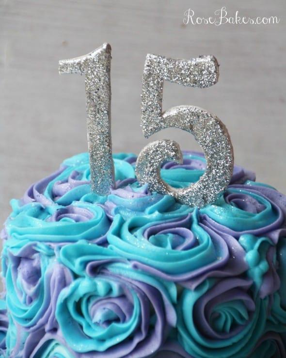 Glittery 15 Cake Topper
