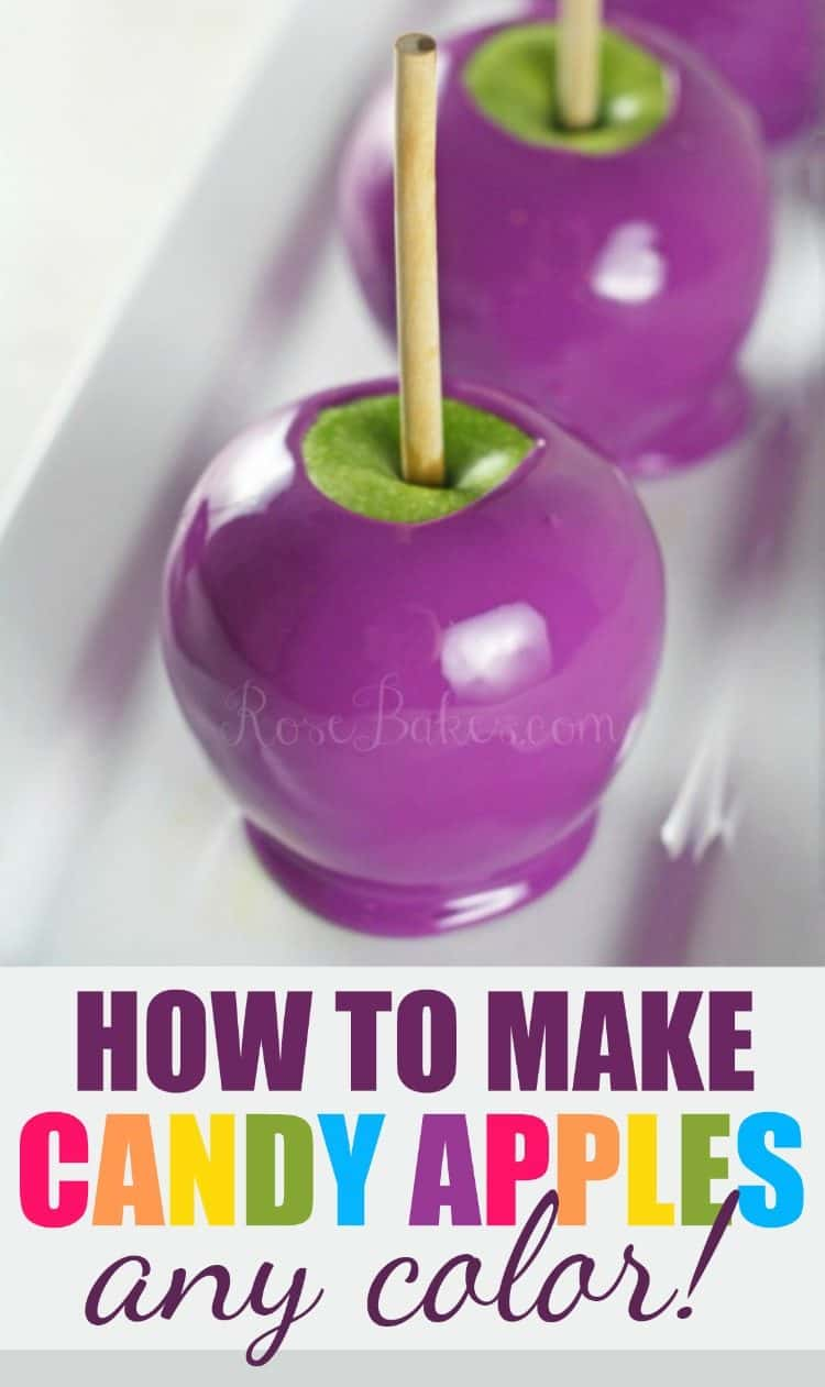 Purple Candy Apples on white platter with text for How to Make Candy Apples Any Color