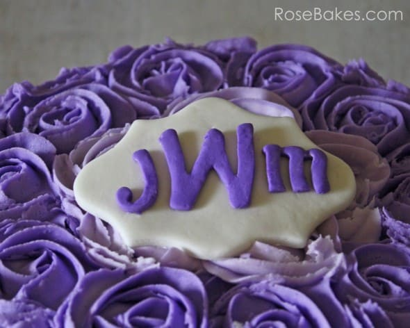 Monogram Plaque on Purple Ombre Roses Cake