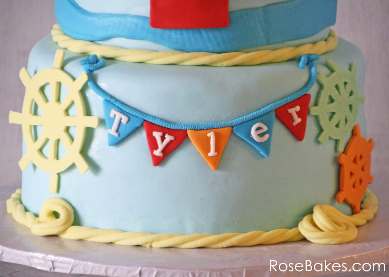 Remarkable Nautical Themed Birthday Cake With Sailboat Topper Rose Bakes Funny Birthday Cards Online Inifodamsfinfo