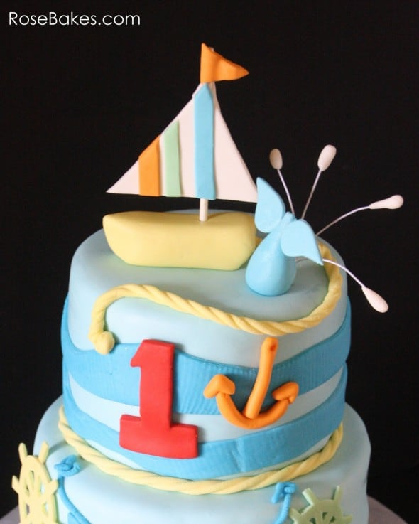 Nautical Theme Sailboat Cake Top Tier