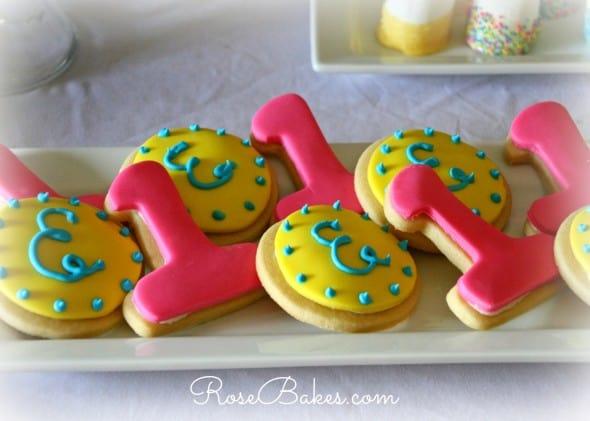 One Cookies and Monogram Cookies