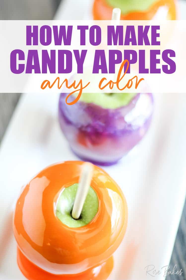 Orange and purple candy apples on a white platter with text, How to Make Candy Apples Any Color