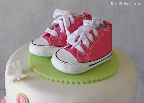 Pink Converse Shoes on Tutu Cake with Butterflies
