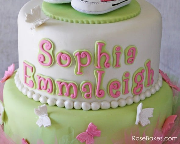 Pink Green Tutu Cake with Converse Shoes & Butterflies Name