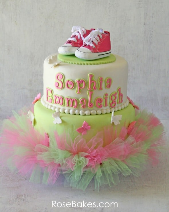 Pink Green Tutu Cake with Converse Shoes & Butterflies Shadows