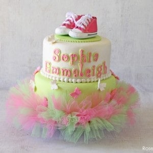 Pink U0026 Green Tutu Baby Shower Cake With Butterflies And Pink Converse Shoes