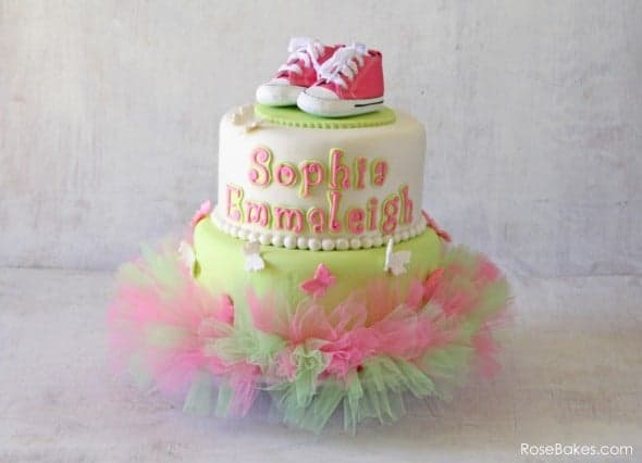 Pink Green Tutu Cake with Converse Shoes & Butterflies WM