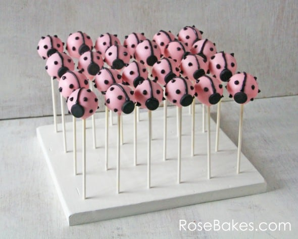 Pink Ladybug Cake Pops in Stand WM