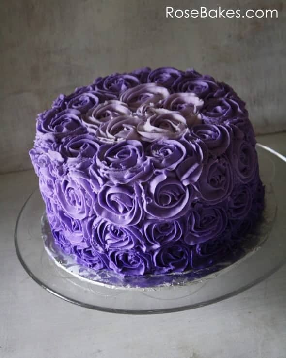Purple Colour Cake Images : Purple Ombre Buttercream Roses Birthday Cake - Rose Bakes