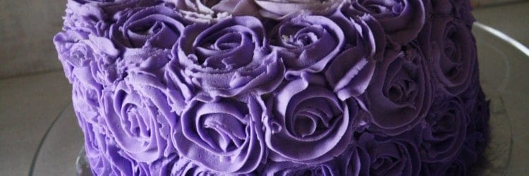 Purple Ombre Buttercream Roses Birthday Cake Above