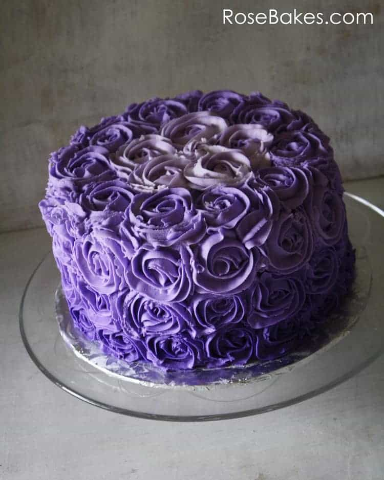Purple Ombre Buttercream Roses Birthday Cake Rose Bakes