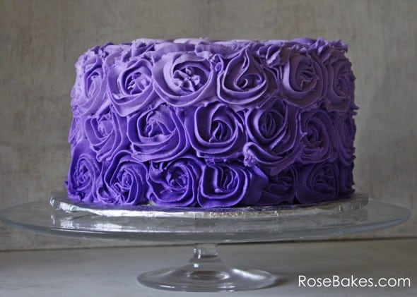 purple birthday cake purple ombre buttercream roses birthday cake bakes 6881