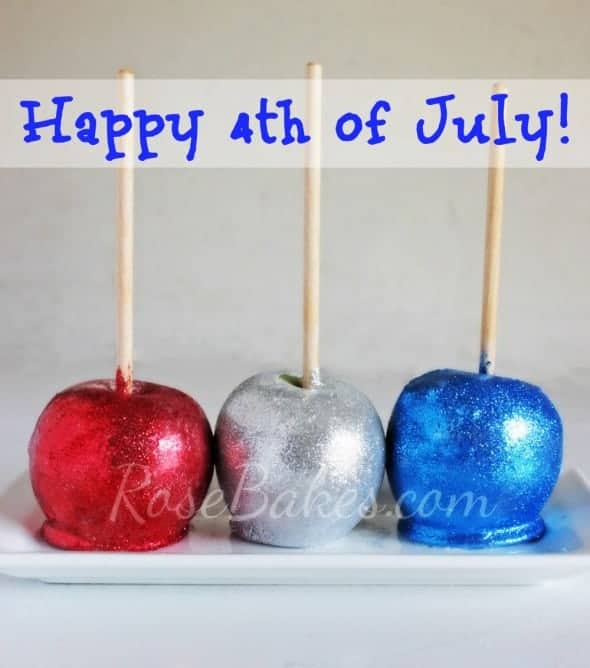 Red White and Blue Glitter Candy Apples on white platter Happy 4th of July
