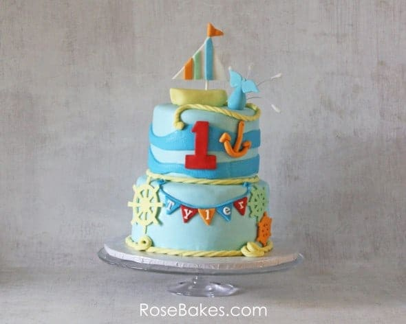 Nautical Themed Birthday Cake with Sailboat Topper Rose Bakes