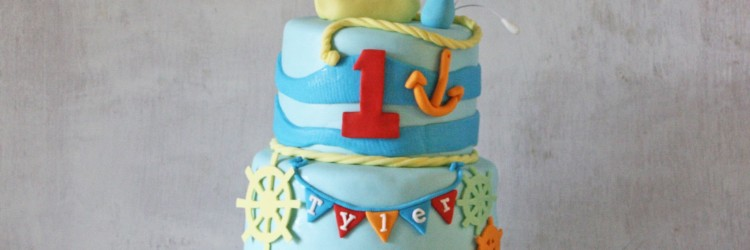 Sailboat Nautical Theme Cake Wide