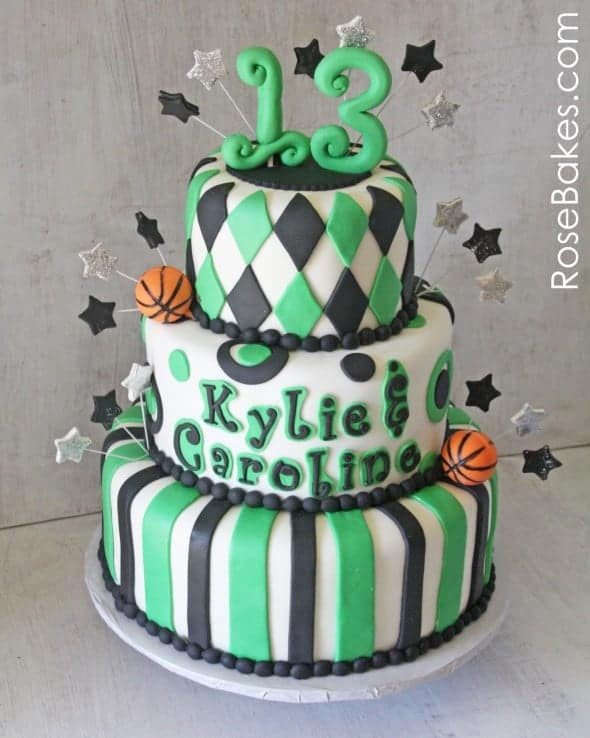 School Spirit Basketball 13th Birthday Cake Rose Bakes