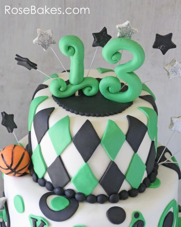 School Spirit 13th Birthday Basketball Cake Top