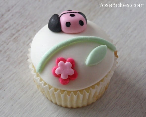 Single Pink Ladybug and Flower Cupcake