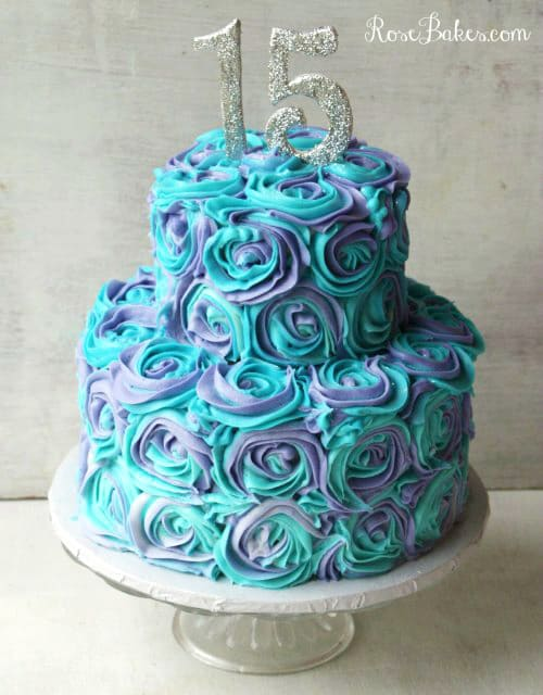 Teal Purple Buttercream Roses Cake on White