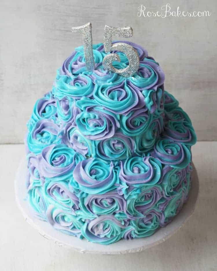 Teal Lavender Swirled Buttercream Roses 15th Birthday Cake