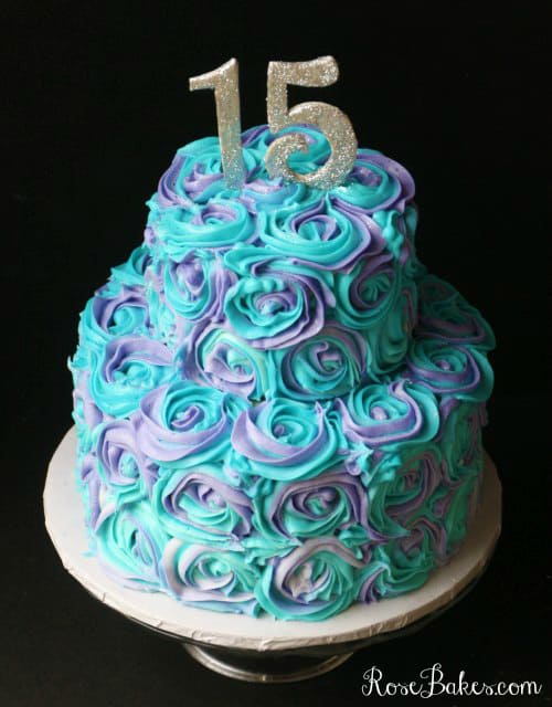 Teal Lavender Swirled Buttercream Roses 15th Birthday Cake Rose