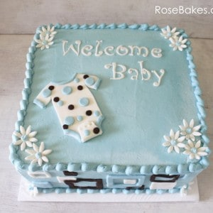 Blue Buttercream Mod Baby Shower Cake with Onesie
