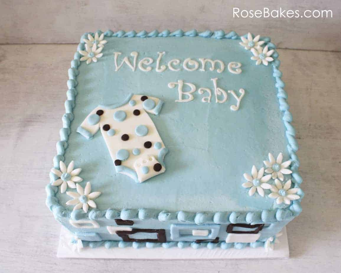 Cake Baby Shower Recipes : Mod Onesie Baby Shower Cake and Blue Candy Apples - Rose Bakes