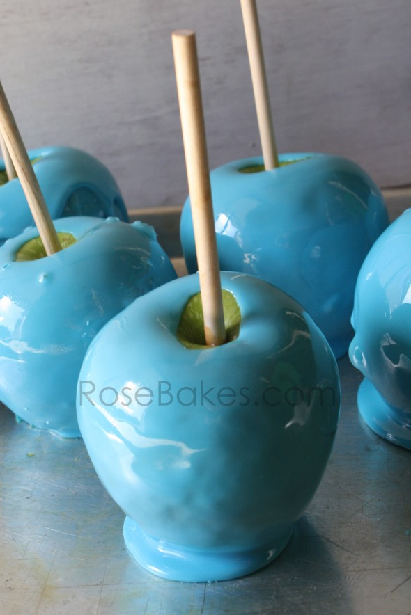 Bright Blue Raspberry Candy Apples