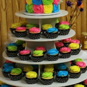 Bright Colors Black White Polka Dots Cake Cupcake Tower