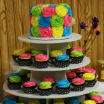 Bright Colors Black White Polka Dots Cake Cupcake Tower