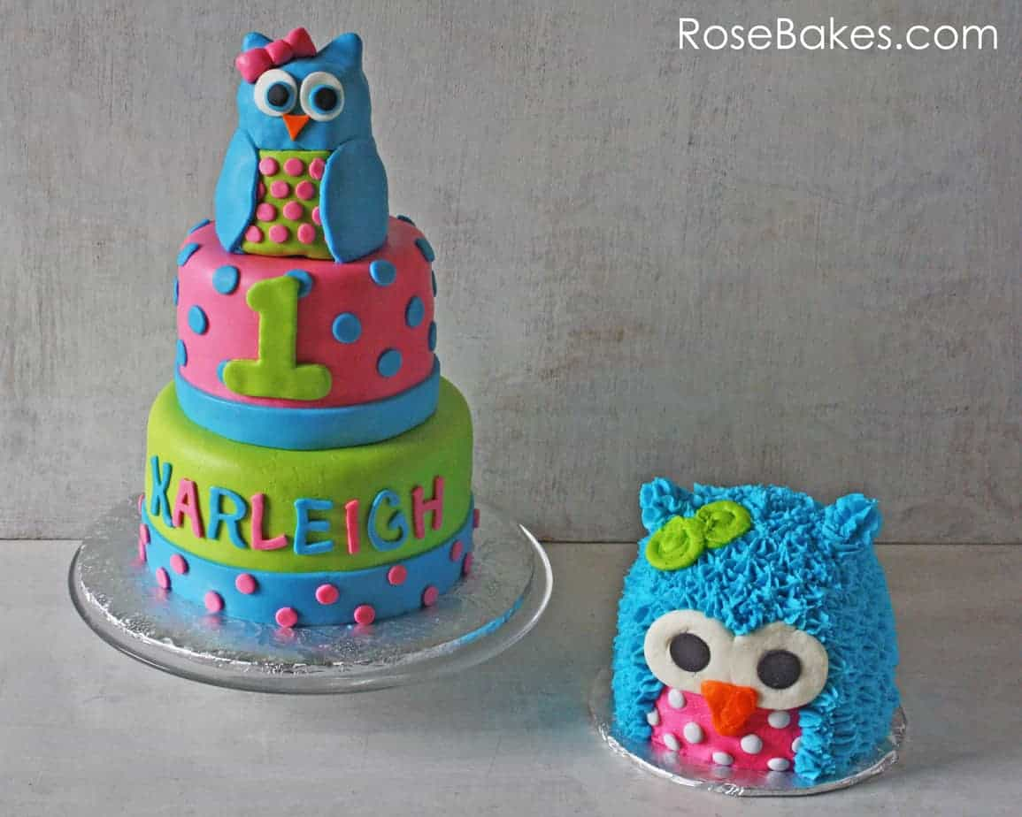 Bright Polka Dots Owl Cake And Smash