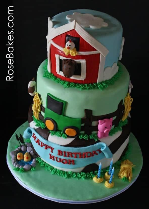 Farm Animals Cake Above