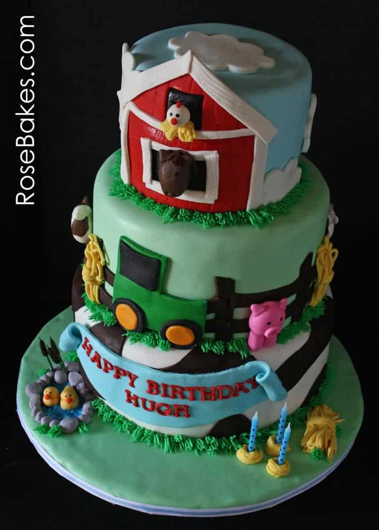 Farm Animals Cake With A Green Tractor