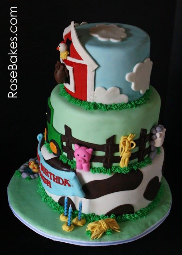 Farm Animals Cake Side